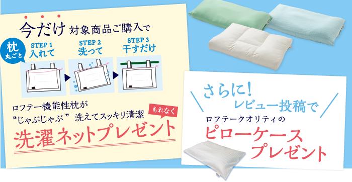 """今だけ対象商品ご購入でロフテー機能性枕が""""じゃぶじゃぶ""""丸ごと洗えてすっきり清潔 選択ねっとプレゼント!さらに!レビュー投稿で綿100%アーガイル柄ピローケースプレゼント"""