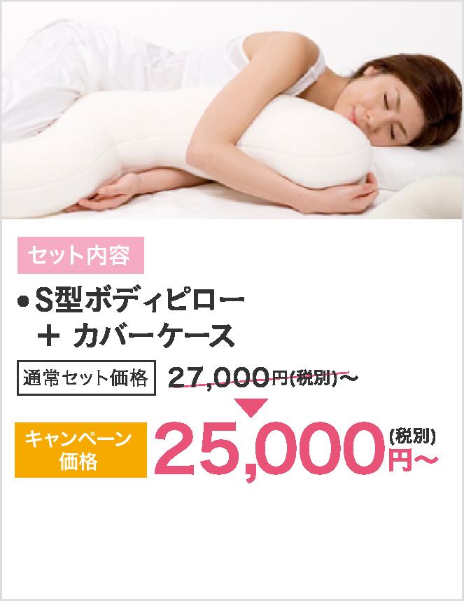 セット内容はS型ボディピローとカバーケース、キャンペーン価格25000円