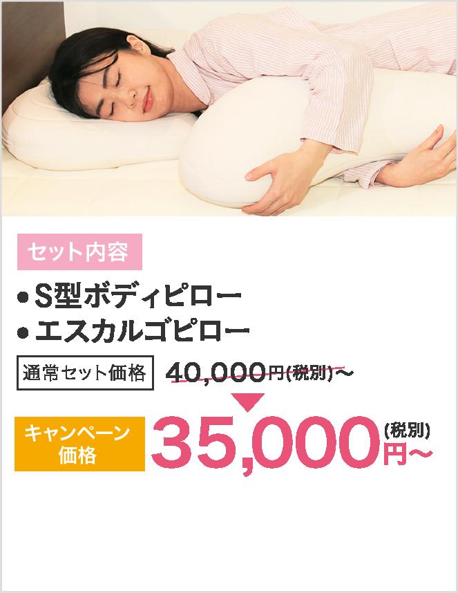 セット内容はS型ボディピローとエスカルゴピロー、キャンペーン価格35000円