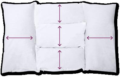5つのユニット連結構造で中身が偏りにくく<br> 理想の高さを一晩中キープ。